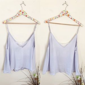 Free People Tops - NWT Free People Satin Cami Lace Inset periwinkle M